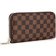 6886360d6bb7 Women s Checkered Zip Around Wallet and Phone Clutch - RFID Blocking with Card  Holder Organizer -