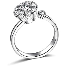 9a46d067ee2610 Rotate 3 Carat Round Cut Cubic Zirconia 925 Sterling Silver Women Wedding  Engagement Rings Anniversary Wedding