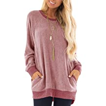 bace79f9845 GADEWAKE Womens Casual Color Block Long Sleeve Round Neck Pocket T Shirts  Blouses Sweatshirts Tops